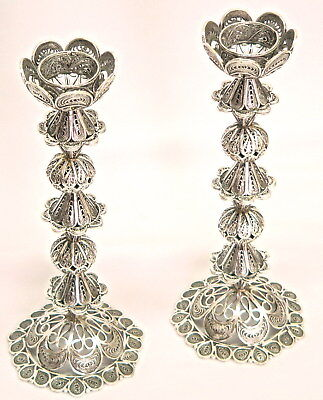 Sterling Silver Filigree Shabbat Candlesticks Shabbes Candle Holder Judaica Art