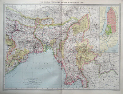 INDIA CEYLON BENGAL BURMA TIBET 2 ANTIQUE MAPS c.1908