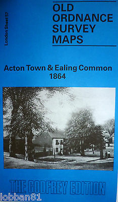 Old Ordnance Survey Detailed Map Acton Town & Ealing Common London 1864 S57 New