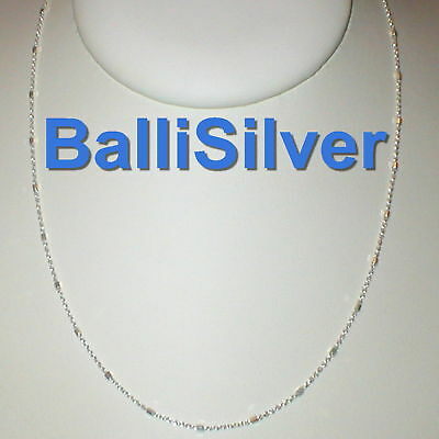 3 Silver 925 Fine Cable CHAIN with BEADS Necklaces 30""
