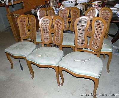 Antique c1940 Set of 6 Mahogany Dining Room Chairs Cane Back Gerte New York