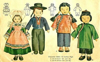 """1945 12"""" French & Chinese Doll & Clothes Pattern 1203"""