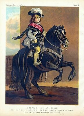 Horsemanship Pupil Equitation Antique Color Horse Print