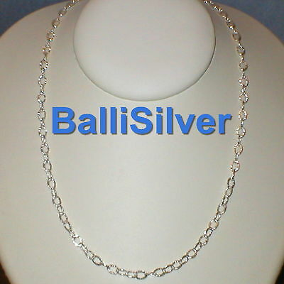 3 Silver 925 4x6mm Thick HAMMERED Oval Cable Chains 40""
