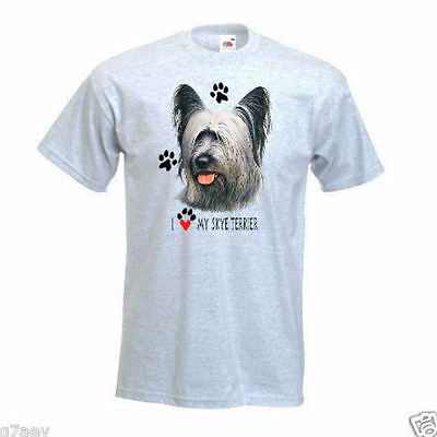 """I Love My Skye Terrier"" Design Printed T-Shirt"