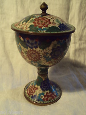 Vintage Antique Brass Copper CLOISONNE PEDESTAL DISH