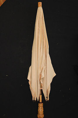 Edwardian Period Carved Wood Handle Cotton Umbrella