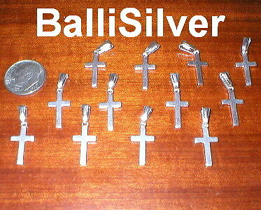 48 pieces Sterling Silver 925 15mm CROSS Charms Wholesale Lot - Italian Silver