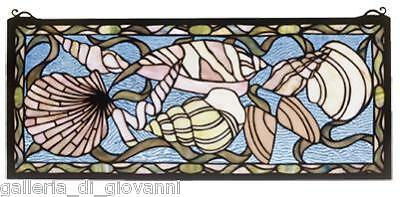 Seashells Stained Glass Window Sea Ocean Nautical Shell
