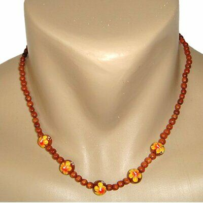 Hawaiian Jewelry Koa Wood Bead Yellow Flower Necklace