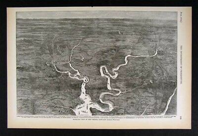 Harper Civil War Map Virginia Campaign Bird's Eye View