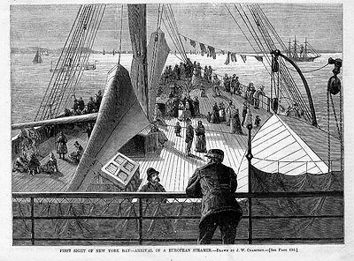 EUROPEAN STEAMER NAUTICAL FIRST SIGHT OF NEW YORK BAY SHIPS IMMIGRANT HISTORY