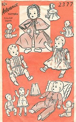 "Advance 11"" Baby Doll Clothes Pattern 2377"