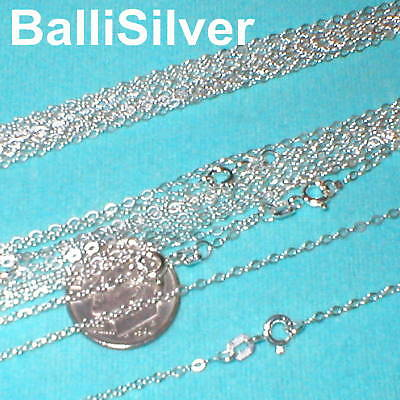 "50 pieces Sterling Silver 925 Italian Fine FLAT CABLE Chains 18"" 45cm"