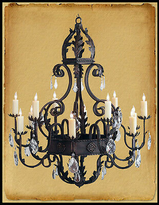 Ch1033C : Old World Wrought Iron Chandelier W/ Crystals