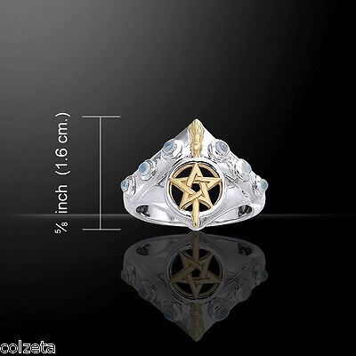 WITCHES BROOMSTICK RING ~ Sterling Silver & gold vermiel AMETHYSTS or  MOONSTONE