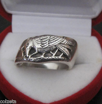 RAVEN STERLING SILVER RING UNUSUAL diagonal ring BY PETER STONE