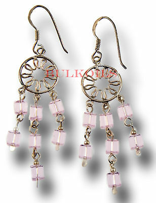 Sterling Silver CHANDELIER EARRINGS AND PINK CRYSTALS