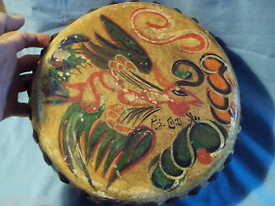 ANTIQUE ASIAN signed DRAGON DRUM red painted wood