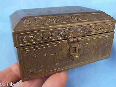 Antique EGYPTIAN BRASS BOX WOODLINED 1938 LOW SELECTIVE cigar humidor?