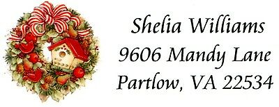 Christmas Birdhouse Wreath Address Labels