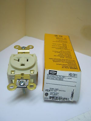 Hubbell Single Receptacle Hbl5361I 20A 125 Vac Ivory