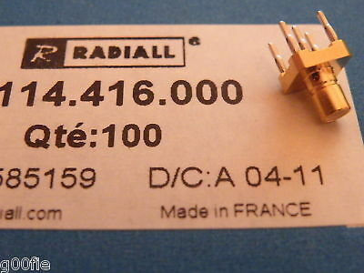 2x Radiall 50 ohm RF SMB Jack Receptacle R114416000 EE15