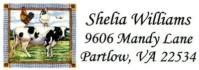 Cow and Chickens Country Address Labels