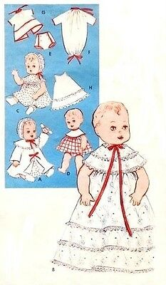 """Vintage 8-9"""" Baby Doll Clothes Pattern 9196"""