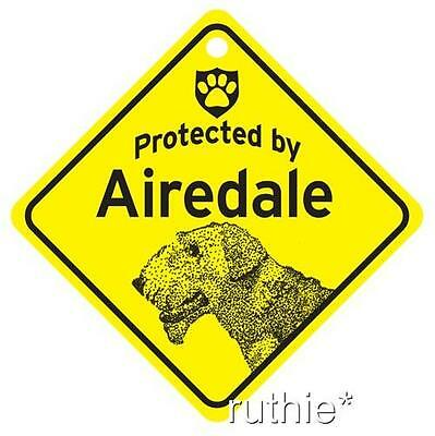 Protected by Airedale Dog Window Sign Made in USA