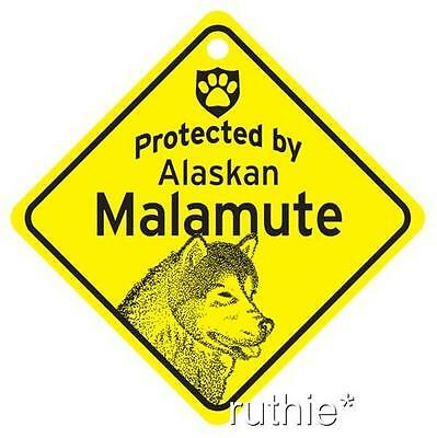 Protected by Alaskan Malamute Window Sign Made in USA