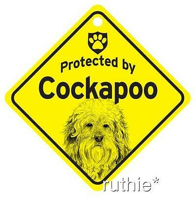 Protected by Cockapoo Dog Window Sign Made in USA
