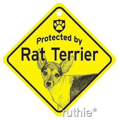 Protected by Rat Terrier Dog Window Sign Made in USA