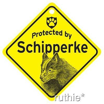 Protected by Schipperke Dog Window Sign Made in USA