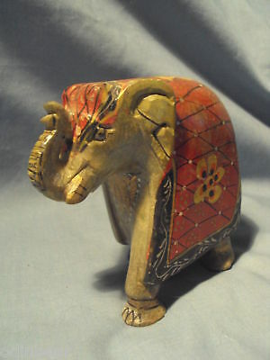 Antique CARVED & PAINTED SOAPSTONE ELEPHANT Statue NR