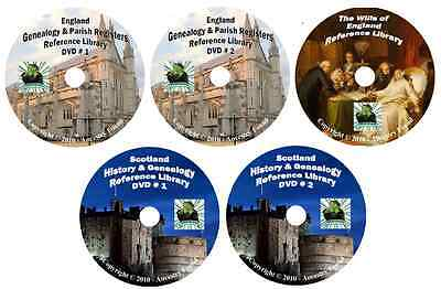 620 Books ENGLAND & SCOTLAND history & genealogy 5-DVDs
