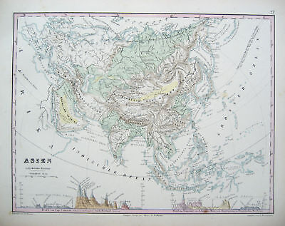 PHYSICAL MAP OF ASIA ANTIQUE HUMBOLDT  c.1851