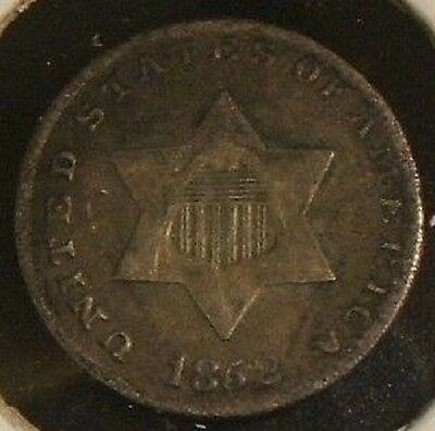 1852~~3-Cent Silver~~Tough Date~~F-Vf