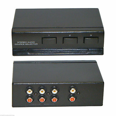 3 Port Manual Audio Switch 3 x RCA Input CD AUX - 3 Way