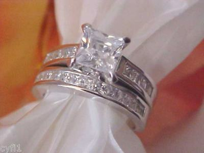 Sterling Silver 925 CZ Engagement Wedding Ring Set 5-9