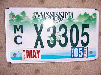 2005 Mississippi Motorcycle License Plate Colorful  F
