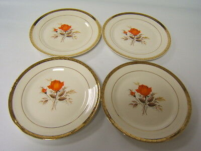 American Limoges China Vermillion Rose 4 salad plates