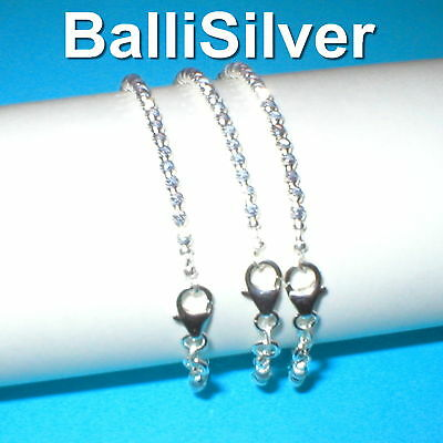 10 pcs St. Silver 925 3mm LASER CUT BEAD BRACELETS Lot