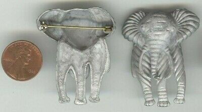 6pcs.VINTAGE WHITE CASTED ELEPHANT 45x35mm. BAR PIN T28
