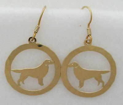 Flat Coated Retriever Jewelry Gold Dangle Earrings