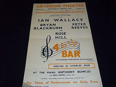 1960 4 To The Bar Criterion Theater Poster Ian Wallace & Rose Hill - P 187