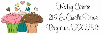 YUMMY CUPCAKES w/HEART TOPPERS~  Return Address Labels
