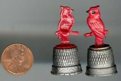 1pc. VINTAGE GENUINE PEWTER RED CARDINAL THIMBLE  S476