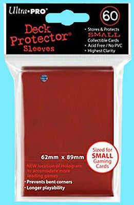 60 Ultra Pro DECK PROTECTOR Small Size NEW Card Sleeves RED Yugioh 1 pack gaming