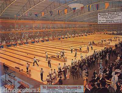 American Usa National Bowling Sport New York Chicago Vintage Poster Repro
